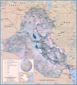 Large scale political wall map of Iraq - 2003.