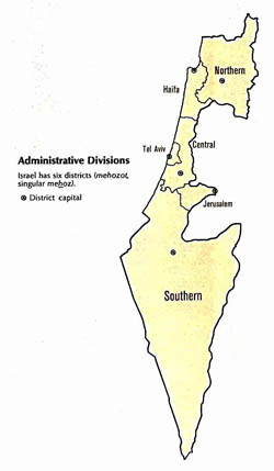 Administrative divisions map of Israel.