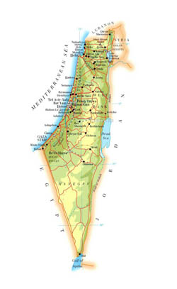 Detailed elevation map of Israel with roads, cities and airports.