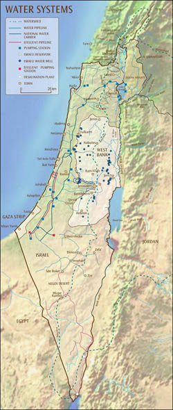 Detailed water systems map of Israel.