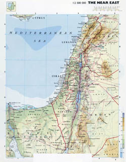 Large detailed physical map of Israel.