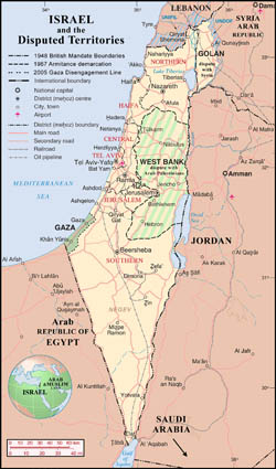 Large detailed political and administrative map of Israel with disputed territories.