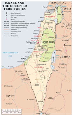 Large detailed political and administrative map of Israel and the occupied territories with roads, cities and airports.
