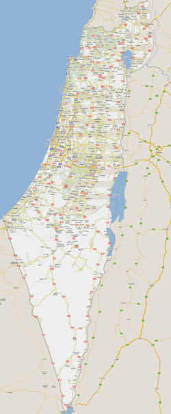 Large detailed road map of Israel with all cities.