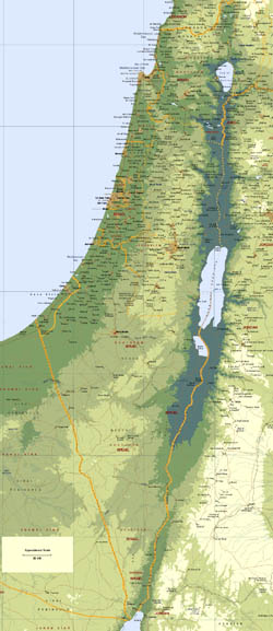 Large elevation map of Israel with roads and cities.