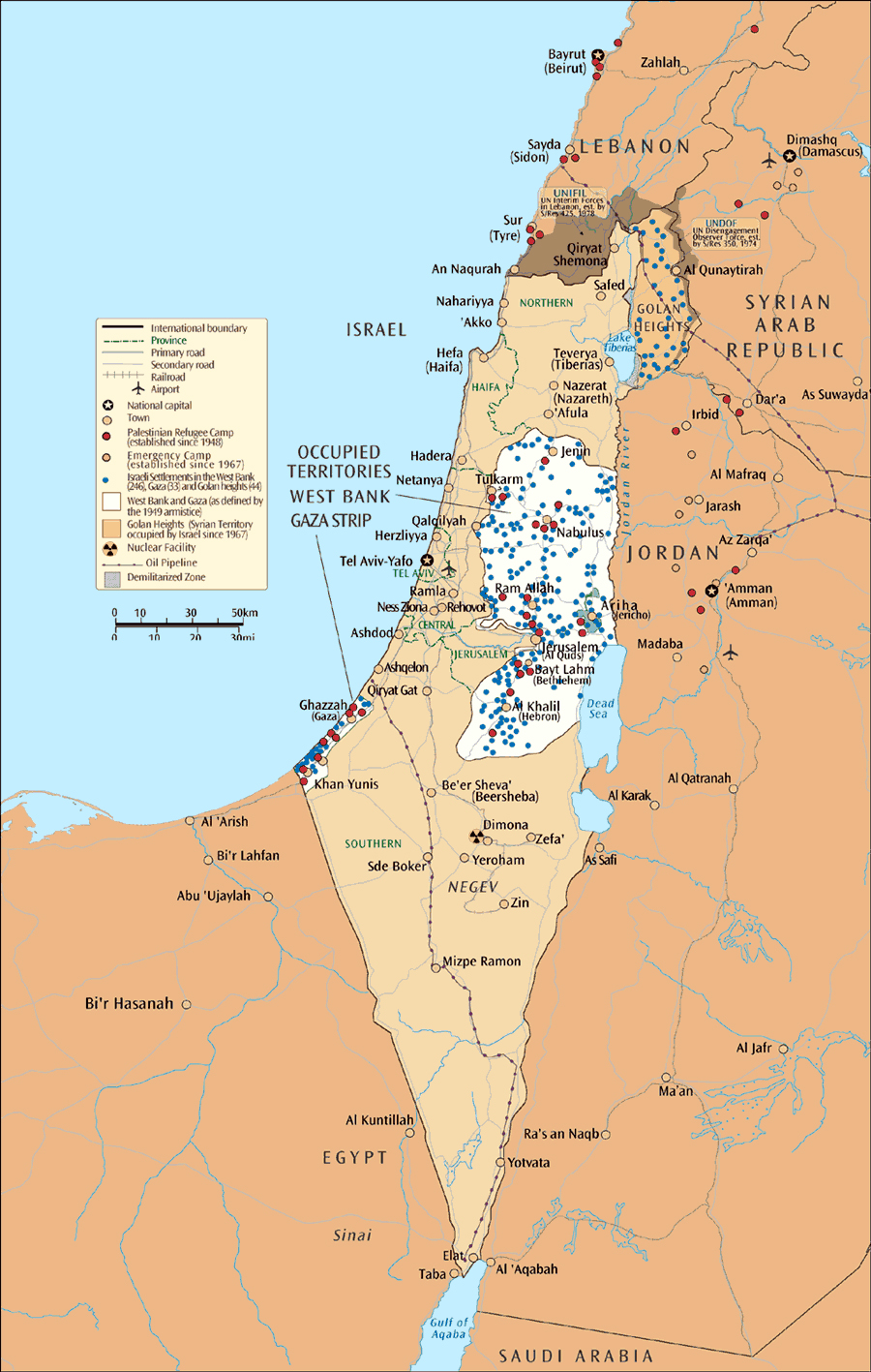 Maps of israel detailed map of israel in english tourist map of large map of israel and the occupied territories gumiabroncs Image collections