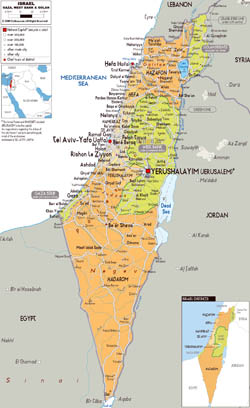 Large political and administrative map of Israel with all roads, cities and airports.