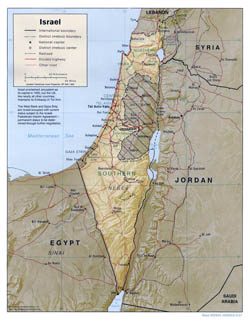 Large political and administrative map of Israel with relief, roads and major cities - 2001.