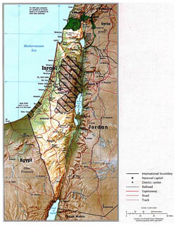 Large political map of Israel with relief, roads and major cities.