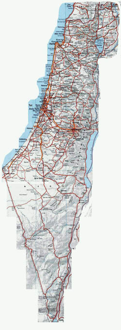 Large road map of Israel with relief and cities.