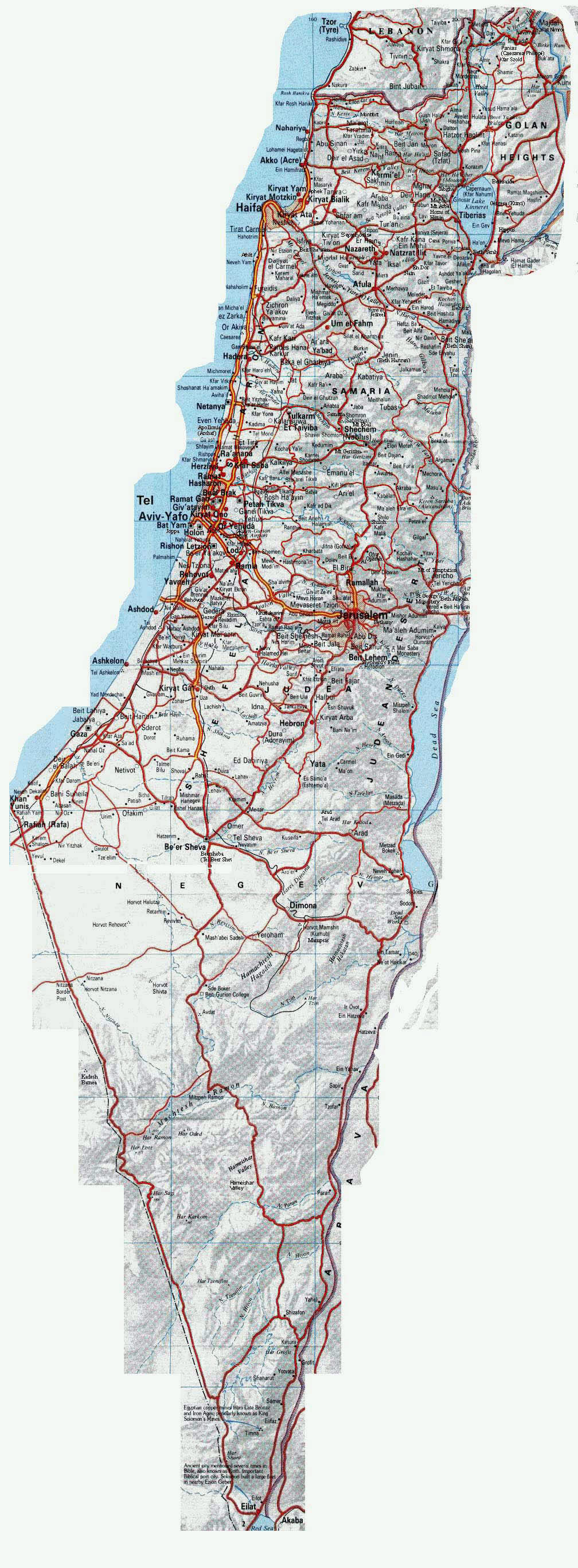 Maps of israel detailed map of israel in english tourist map of large road map of israel with relief and cities gumiabroncs Gallery