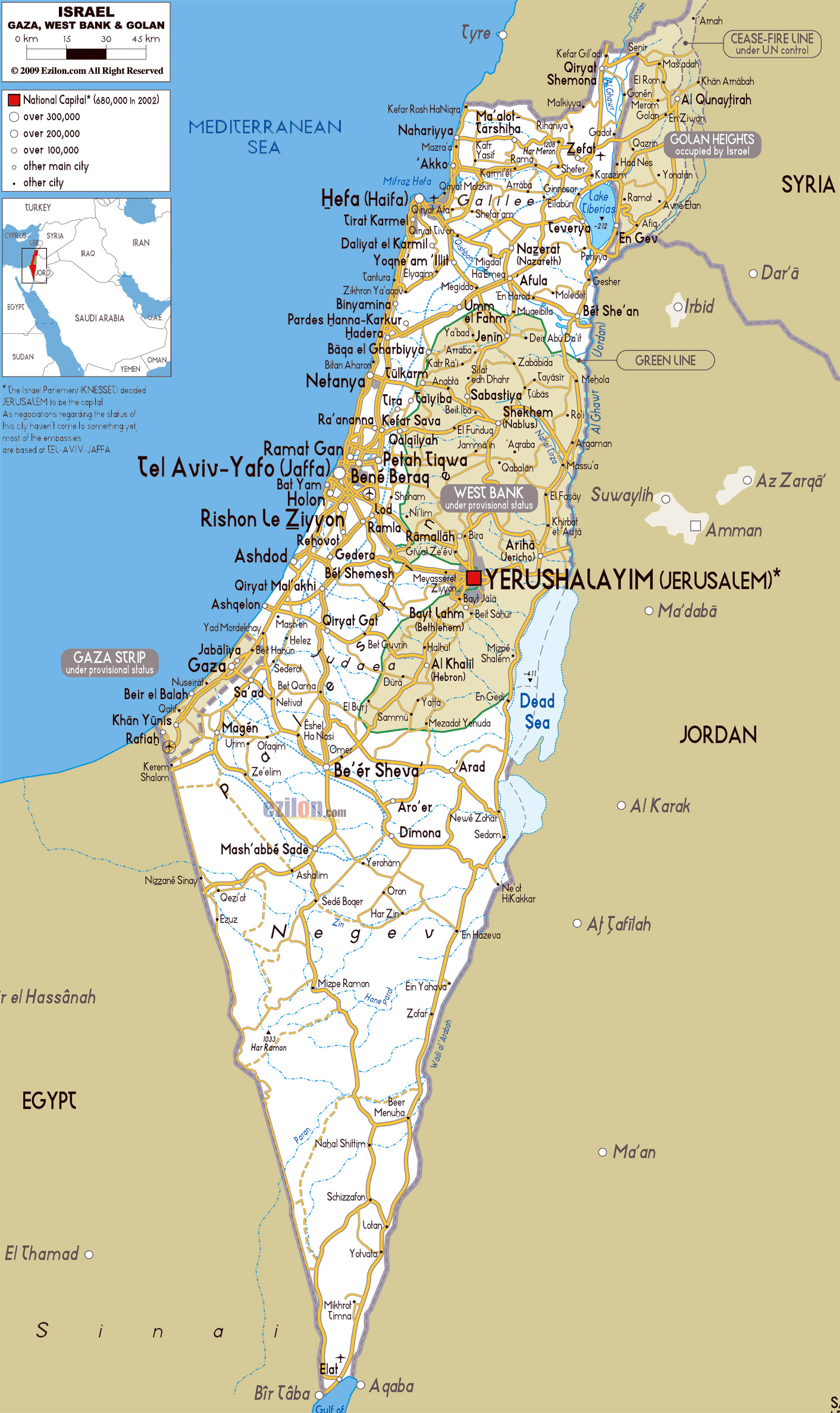image regarding Printable Map of Israel called Maps of Israel Comprehensive map of Israel inside English Vacationer