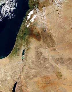 Large satellite map of Israel.