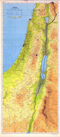 Large scale detailed physical map of Israel with all roads, cities and other marks.