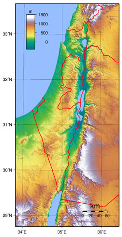 Large topographical map of Israel.