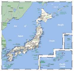 Detailed map of Japan with cities.