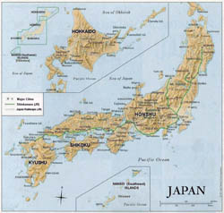 Detailed relief map of Japan with major roads and cities.
