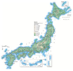 Large detailed elevation map of Japan with roads, cities and airports.