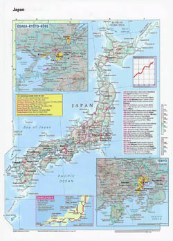 Large detailed map of Japan with relief, roads, cities and airports.