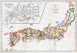 Large detailed old administrative map of Japan in english.