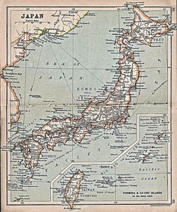 Large detailed old map of Japan with roads and cities - 1911.