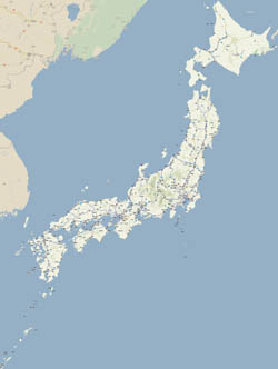 Large detailed road map of Japan in japanese.