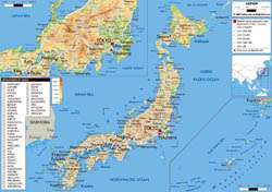 Large physical map of Japan with roads, cities and airports.