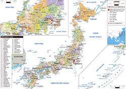 Large political and administrative map of Japan with roads, cities and airports.