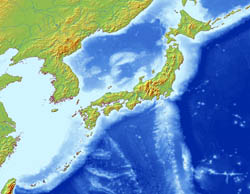 Large relief map of Japan.
