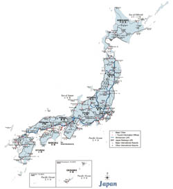 Large road map of Japan.