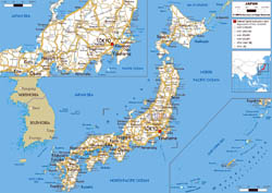 Large road map of Japan with cities and airports.