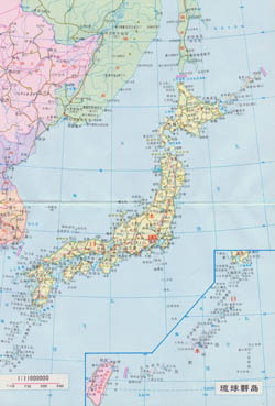 Large scale road map of Japan with cities in japanese.