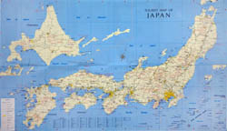 Large scale tourist map of Japan.