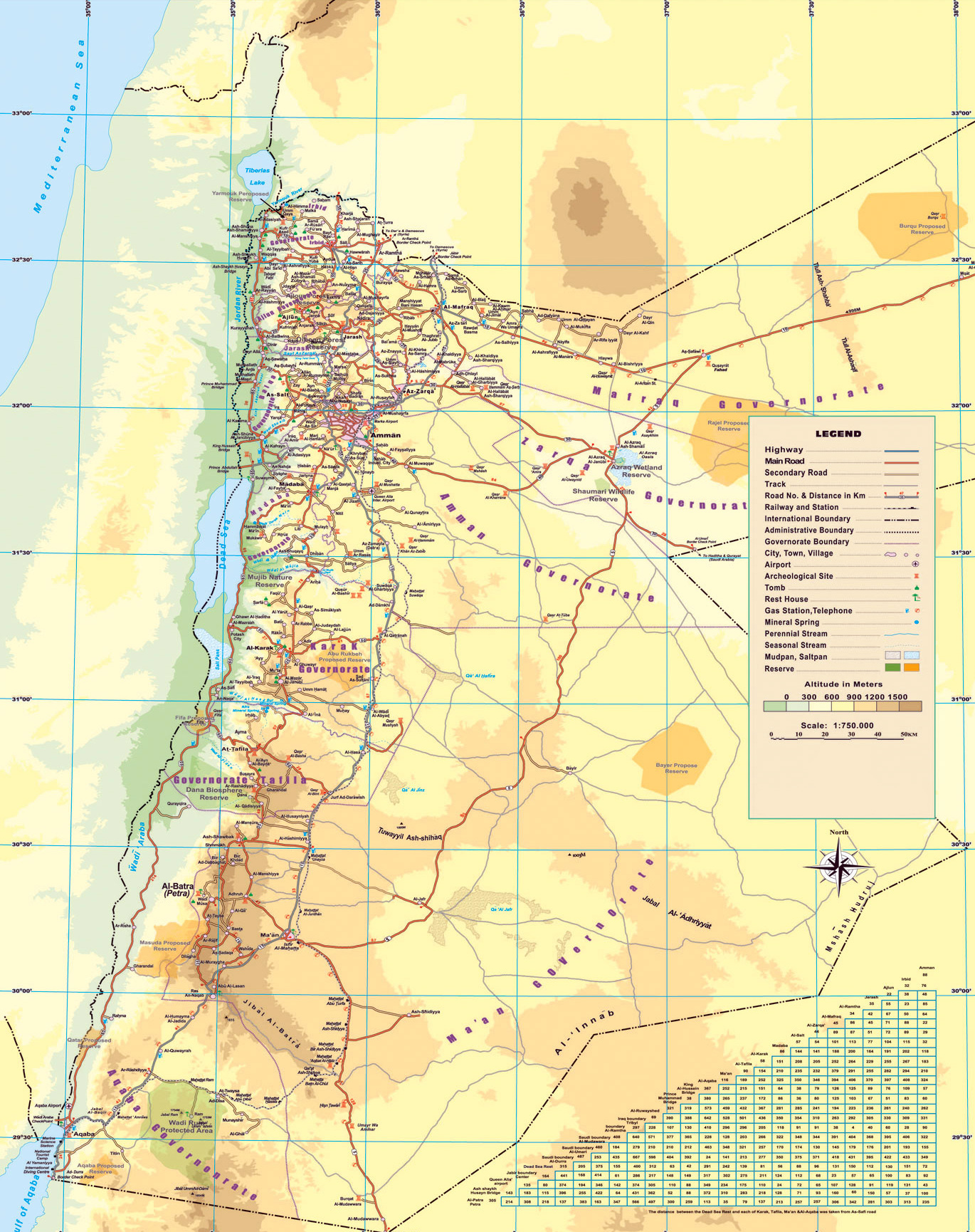 Maps of jordan detailed map of jordan in english tourist map of detailed elevation map of jordan with roads cities airports and other marks gumiabroncs Images