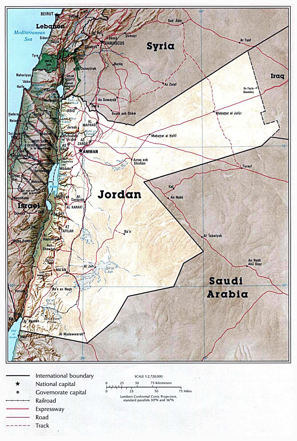 Maps of jordan detailed map of jordan in english tourist map of detailed political map of jordan with relief gumiabroncs Images