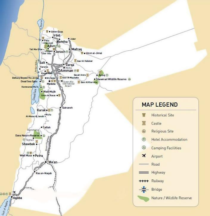 Maps of Jordan  Detailed map of Jordan in English  Tourist map