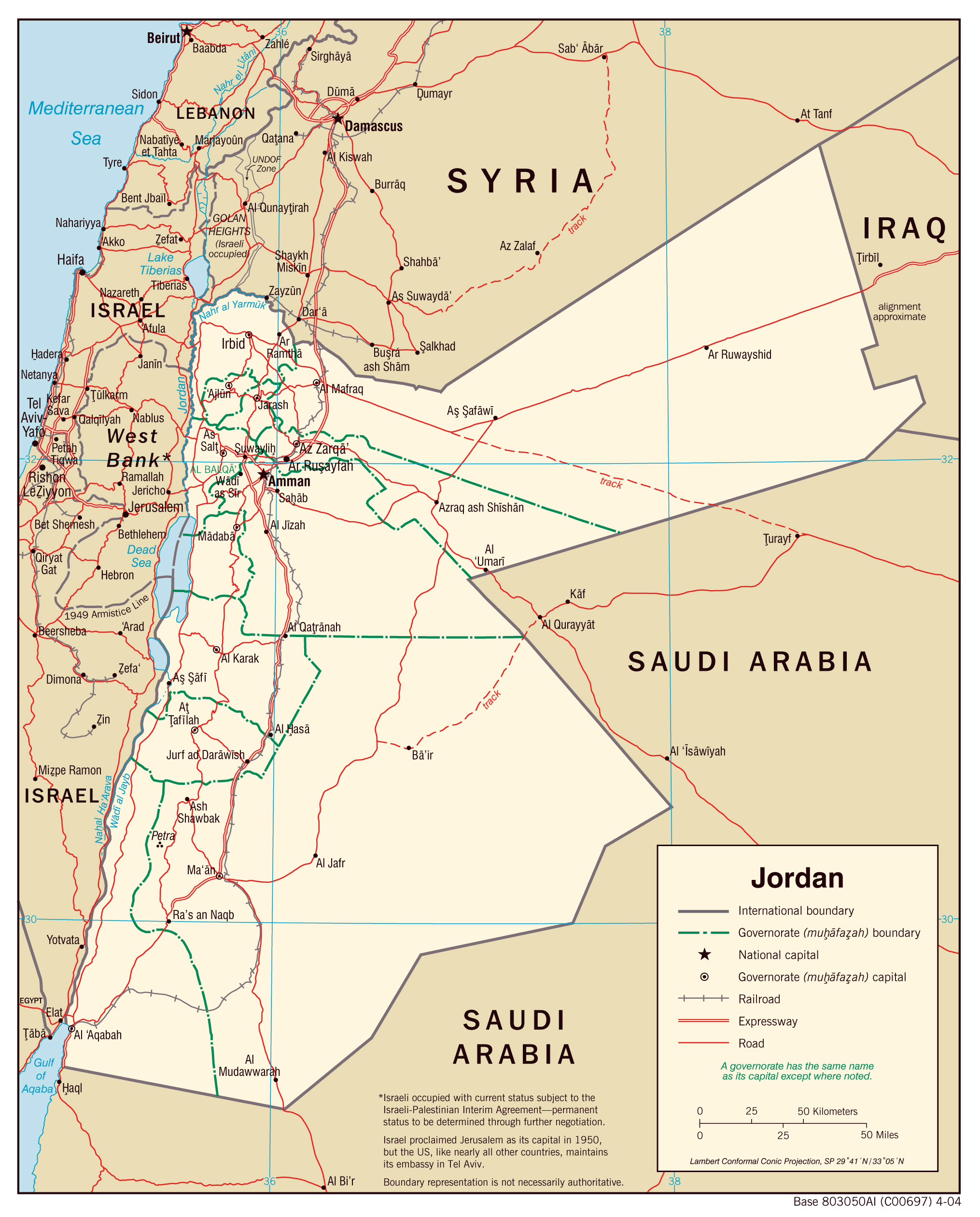 Maps of Jordan Detailed map of Jordan in English Tourist map of