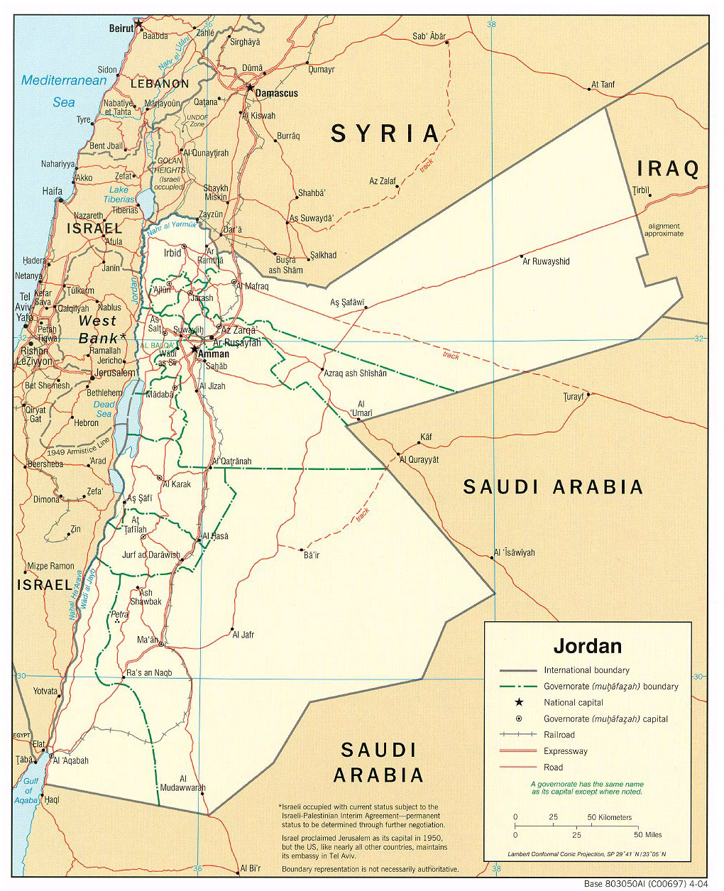 Maps of jordan detailed map of jordan in english tourist map of large political and administrative map of jordan with roads and cities 2004 publicscrutiny Choice Image