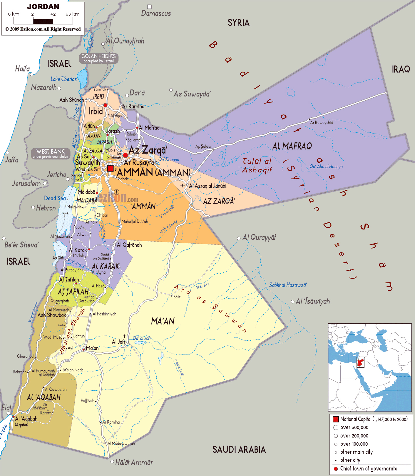 Maps of jordan detailed map of jordan in english tourist map of large political and administrative map of jordan with roads cities and airports gumiabroncs Images