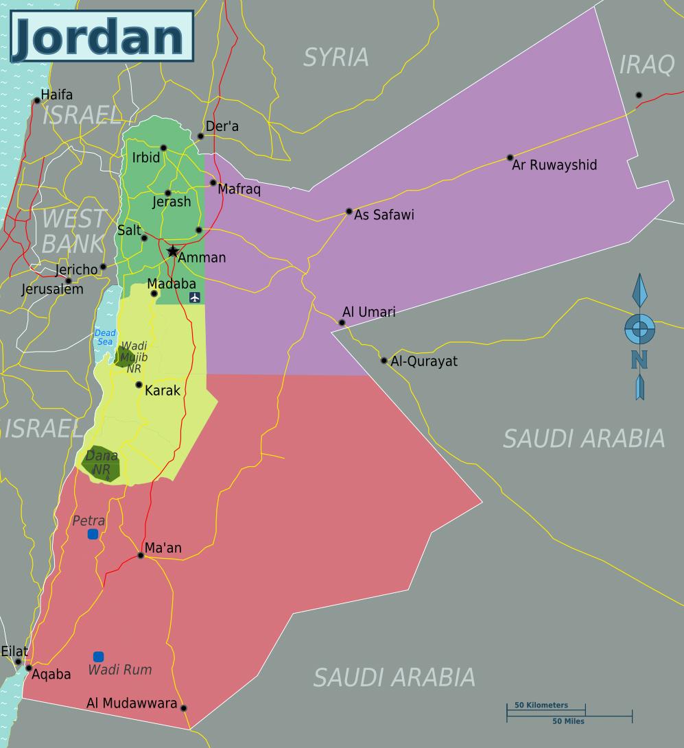 large regions map of jordan. maps of jordan  detailed map of jordan in english  tourist map