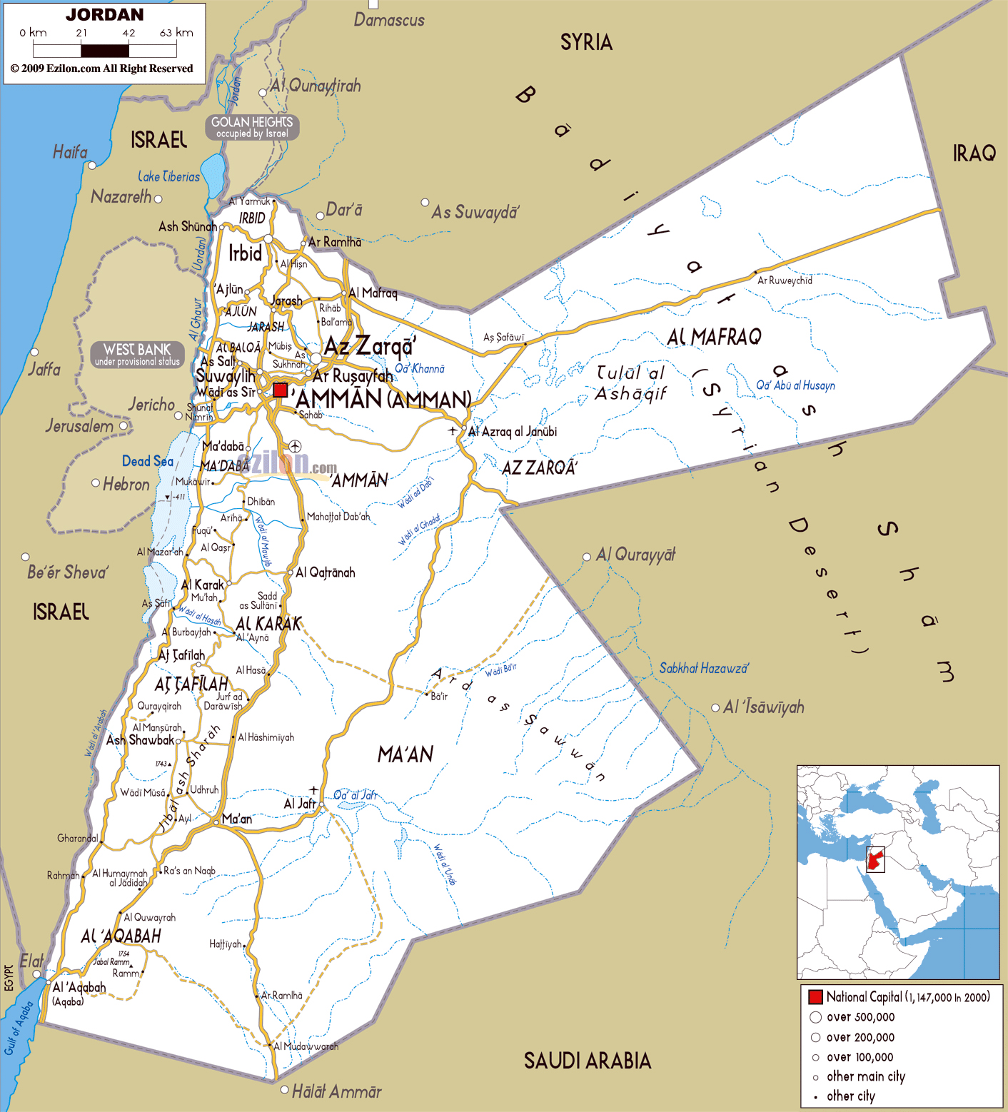Maps of jordan detailed map of jordan in english tourist map of large road map of jordan with cities and airports gumiabroncs Choice Image