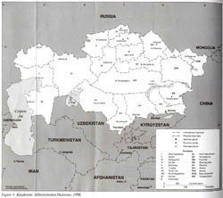 Detailed administrative divisions map of Kazakhstan - 1996.