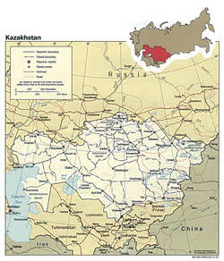 Detailed political and administrative map of Kazakhstan - 1991.