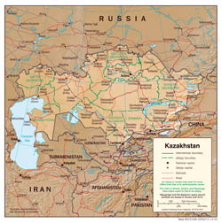 Large detailed political and administrative map of Kazakhstan with relief, roads and cities - 2001.