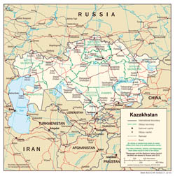 Large detailed political and administrative map of Kazakhstan with roads and cities - 2001.