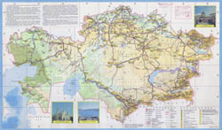 Large detailed tourist map of Kazakhstan in russian.