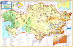Large detailed tourist map of Kazakhstan.