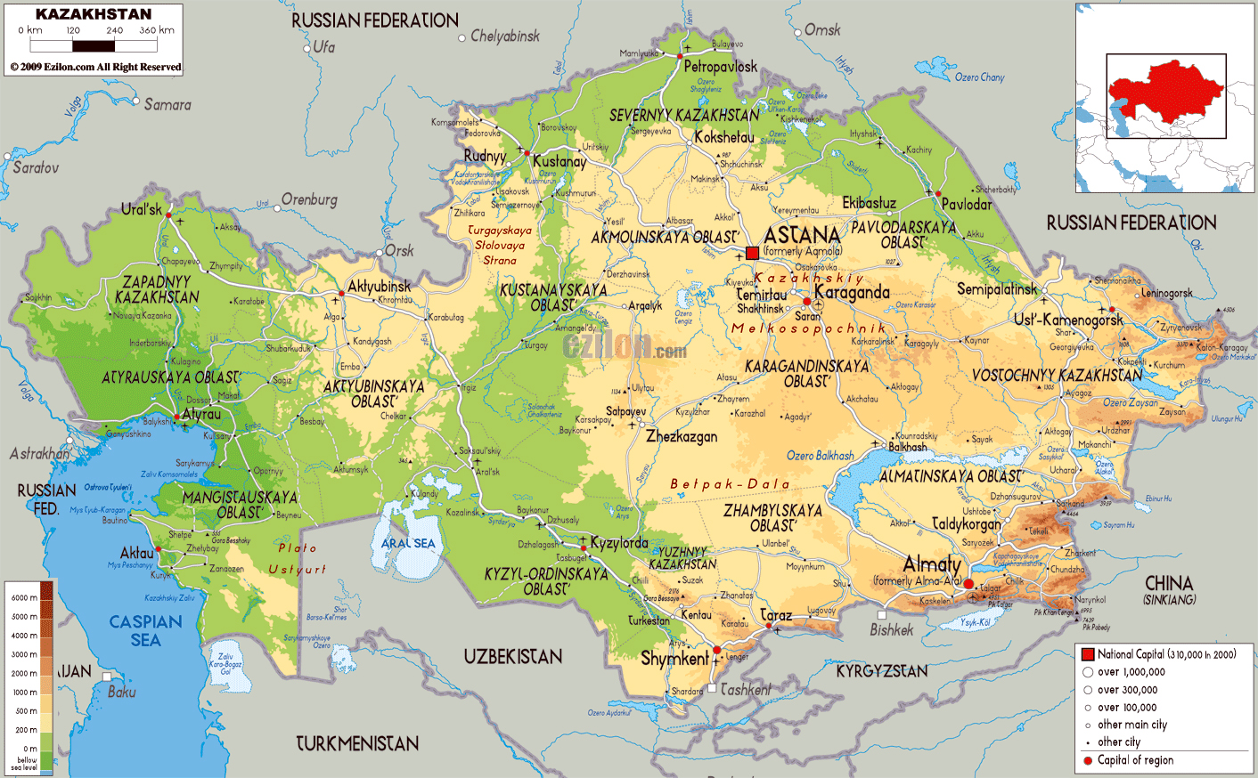 Maps of kazakhstan detailed map of kazakhstan in english tourist large physical map of kazakhstan with roads cities and airports gumiabroncs Images