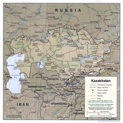 Large political and administrative map of Kazakhstan with relief, roads and cities - 2001.