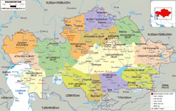 Large political and administrative map of Kazakhstan with roads, cities and airports.